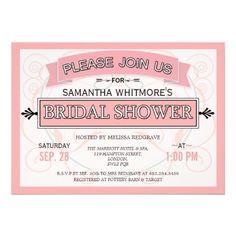 Unique Vintage Bridal Shower Invitations In Pink