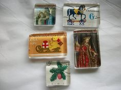 5 Vintage Christmas US Postage Stamp Glass Magnets by BadCatCraft
