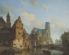 """dutch-and-flemish-painters: """" Cornelis Springer - A View of the Delftse Vaart and Saint Laurens Church, Rotterdam - 1840 oil on canvas, 75 x 91 cm """" European Paintings, Old Paintings, Beautiful Paintings, Classic Paintings, Rotterdam, Carl Spitzweg, Watercolor Architecture, Best Water Bottle, Medieval Life"""
