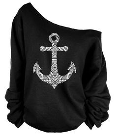 Stylish Skew Neck Long Sleeve Anchor Pattern Women's Sweatshirt