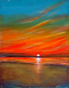 August 15 Sunrise Sunset Original Painting, painting by artist Toni Grote