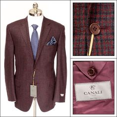 Bold burgundy, in this CANALI 1934 Plaid Wool 2Btn Coat Jacket!  |  Have at it! http://www.frieschskys.com/blazers  |  #frieschskys #mensfashion #fashion #mensstyle #style #moda #menswear #dapper #stylish #MadeInItaly #Italy #couture #highfashion #designer #shop