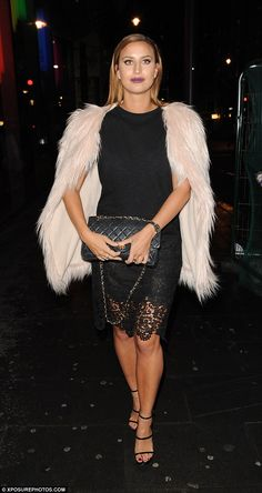 Onto the next one: Ferne swapped her silver dress for a snug black one, over which she caped a furry pink coat as she went to celeb stylist Mark Hill's launch party at the W Hotel Mark Hill, Ferne Mccann, Launch Party, Floor Length Dresses, Silver Dress, Snug, Boobs, Fashion Inspiration, Stylists