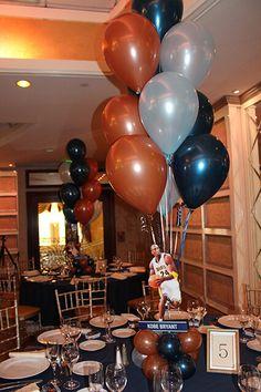 Sports Player Balloon Centerpiece Navy, Light Blue & Bronze Balloon Arrangement with Cutout Players in Balloon Base Balloon Arrangements, Balloon Centerpieces, Balloon Decorations, Basketball Party, Sports Party, Balloon Inside Balloon, Blue Birthday Parties, Balloon Bouquet, Ballon