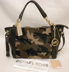 f91b728fcf88 Michael Kors Large Stanthorpe Camo Haircalf Satchel Duffle Brown Leather NWT   MichaelKors  ConvertableSatchel