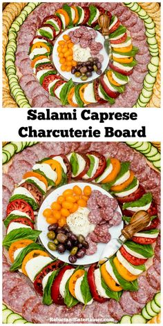 Salami Caprese Charcuterie Board - via Plateau Charcuterie, Charcuterie And Cheese Board, Cheese Boards, Tapas, Appetizers For Party, Appetizer Recipes, Party Dishes, Party Trays, Meat And Cheese