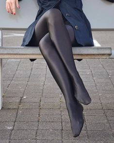 Beauty in satin opaque tights! Nylons Heels, Black Pantyhose, Black Tights, Pantyhosed Legs, Bas Sexy, Opaque Tights, Stocking Tights, Great Legs, Sexy Stockings