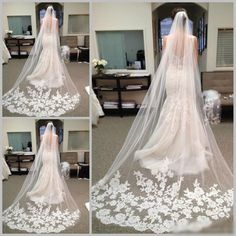 2016 Best Selling Cheapest In Stock Long Chapel Length Bridal Veil Appliques 2015 Veu De Noiva Longo Wedding Veil Lace Purfle With Comb Birdcage Veil Hairstyles Cathedral Lace Veil From Allanhu, $17.09| Dhgate.Com