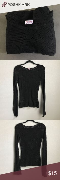 Black Lace Mesh Long Sleeve Top - Goth Black Lace Mesh Long Sleeve Top - Goth  Label: Lipstick  Approx Size: S  Condition: Good condition Lipstick Tops Tees - Long Sleeve
