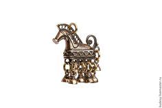 Купить Подвеска шумящая Конек - бронза, ручная работа, серебряный, Подвеска из бронзы, украшение на шею