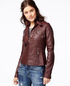 Jou Jou Faux-Leather Band Collar Moto Jacket in BLACK size Large