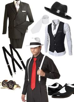 Speakeasy style fashion for men. Men's speakeasy fashion runs from simple and elegant to over the top gangster style. Dark suits, classic shirts with cufflinks, wide ties or bow ties, wool vests, pinstripes, fedoras and wingtips complete the look. Find more inspiration for a Speakeasy party theme at http://sparklerparties.com/speakeasy/