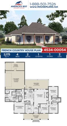 Plan 4534-00054 outlines a French Country home design with 2,175 sq. ft., 4 bedrooms, 2.5 bathrooms, a kitchen island, an open floor plan, and a 2 car garage. #frenchcountry #architecture #houseplans #housedesign #homedesign #homedesigns #architecturalplans #newconstruction #floorplans #dreamhome #dreamhouseplans #abhouseplans #besthouseplans #newhome #newhouse #homesweethome #buildingahome #buildahome #residentialplans #residentialhome French Country House Plans, Country House Design, Barn House Plans, Dream House Plans, Floor Plan Drawing, Open Layout, French Countryside, Build Your Dream Home, Open Floor