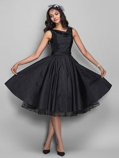 TS+Couture+Cocktail+Party+/++Dress+-+Black+Plus+Sizes+/+Petite+A-line+Cowl+Knee-length+Taffeta+-+AUD+$99.51