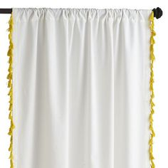 Tassel Trim Curtain - Yellow