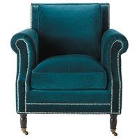 Poltrona blu anatra in velluto | Maisons du Monde