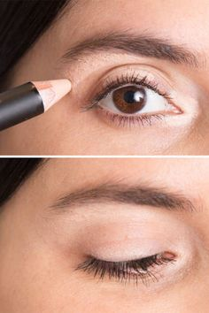 """Use a concealer that's slightly lighter than your skin tone to line three tiny sections of your eyes: the inner """"V,"""" the middle section of your eyelid, and just below your brow bone. Lightly blend for instantly well-rested eyes and a highlight that looks natural"""