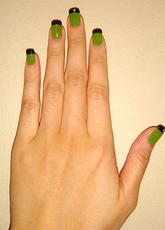 Nails Of The Day: French Manicure With Bright Green And Navy Blue | Makeup For Life