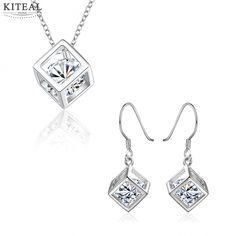 >> Click to Buy << 2017 Lovely silver plated jewelry sets cube necklace with earrings Sets for women charms #Affiliate