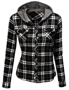 Doublju Womens Twofer Hoodie Shirt with Front Pocket  (AWOHOL02)