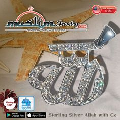 Rhodhium-plated Sterling Silver Allah Pendant with Cubic Zirconia Stones Muslim, Allah, Plating, Stones, Sterling Silver, Pendant, Gifts, Jewelry, Rocks