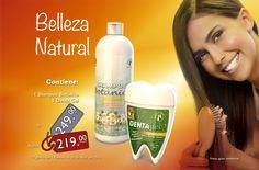 39 Página #Belleza Natural contiene un #Shampoo botánico y un #Dentagel a sólo $219. #Dental #Oxynet Belleza Natural, Coconut Water, Dental, Shampoo, Personal Care, Mayo, Bottle, Drinks, Beauty