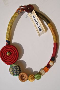 Silk ties necklace vintage buttns shantung spiral by comivishop, €28.00