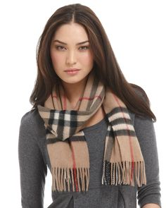 """Burberry Giant Check Cashmere Scarf, 12"""" X 67"""" - Hats, Scarves & Gloves - Accessories - Jewelry & Accessories - Bloomingdale's"""
