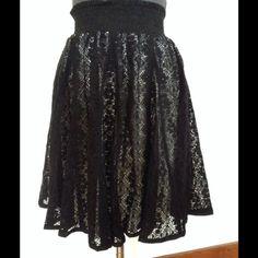 "JOE BENBASSET Lace Skirt Joe Benbasset skirt.  Elastic gathered high waistband. Fully lined.  Black lace cotton/spandex blend material. Waist 22"" (Unstretched).  Length 19-1/2"". Excellent, like new condition. Joe Benbasset Skirts"