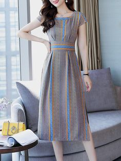Round Neck Side Slit Striped Maxi Dress - Outfit of the day Cheap Maxi Dresses, Striped Maxi Dresses, Stylish Dresses, Summer Dresses, Dress Outfits, Fashion Dresses, Fashion Coat, Fashion Styles, Latest Fashion