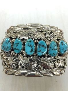 Native American Navajo Indian Hand Made Sterling Silver Turquoise Cuff Bracelet