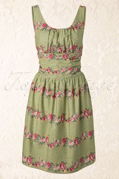 Vixen - 50s Heavenly Floral dress green