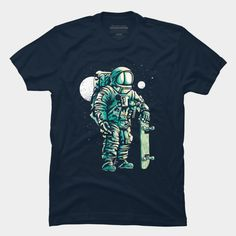 Space Skater is a T Shirt designed by MisfitInVisual and is available at Design By Humans Baseball Tees, Trending Fashion, Astronaut, Skate, Tank Man, Long Sleeve Tees, Shirt Designs, Pullover, Hoodies