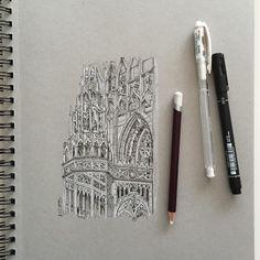 "Closeup Cathedral #art #drawing #pen #sketch #illustration #milan #milancathedral…"""