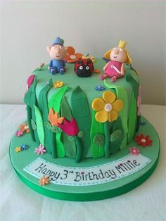 Ben and Holly cake - Cakes - kuchen kindergeburtstag Ben And Holly Party Ideas, Ben And Holly Cake, Ben Y Holly, Sophia Cake, Single Tier Cake, Themed Birthday Cakes, 2nd Birthday, Fairy Cakes, Cake Boss