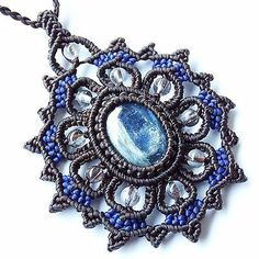 Macrame Necklace Pendant Kyanite Stone Quartz Waxed Cord Handmade Cabochon in Jewelry & Watches, Handcrafted, Artisan Jewelry, Necklaces & Pendants | eBay