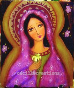 Virgin Mary with lily flower- original mixed media painting on plywood, folk style. $50.00, via Etsy.