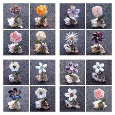 Two Seashell Flower in a Shells Sea Crafts, Nature Crafts, Seashell Art, Seashell Crafts, Shell Flowers, Flower Pots, Shell Animals, Seashell Projects, Flower Shadow Box
