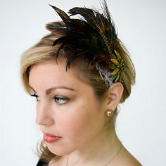1920's Speakeasy inspired this feathered hair clip look
