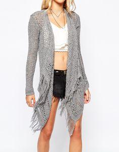 Image 3 ofHollister Blanket Drape Cardigan With Fringing
