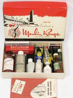 VTG 50's MOULIN ROUGE LAS VEGAS GUEST-PAC TUMS BRYLCREEM LAVORIS TOILETRIES NOS   #1888505639 Las Vegas, Brylcreem, Travel Toiletries, Travel Kits, Le Moulin, Nevada, 1950s, History, Amazing