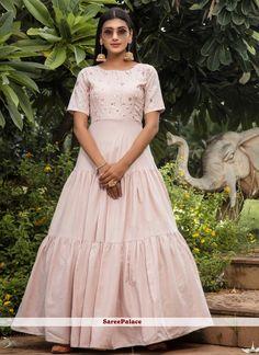 Pink Printed Festival Floor Length Gown Cotton Anarkali, Anarkali Gown, Anarkali Suits, Lehenga Choli, Designer Anarkali, Designer Gowns, Salwar Kameez, Kurti, Costumes Anarkali