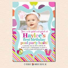 Color Splash Pool Party - Polka Dot Stripe - Birthday Party Invitation (Digital File - Printed Cards Also Available)