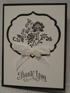 In My Craft Room: Black and White Thank You card - Cased