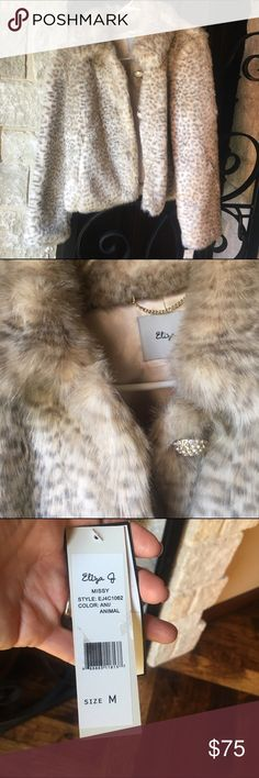 Eliza J Faux Fur coat NWT Gorgeous faux fur coat from Dillards! Received for Christmas two years ago and since I have never worn it I'm letting it go. It has satin lining with pocket. I have a couple extra pictures I can add to extra pics of needed. Eliza J Jackets & Coats