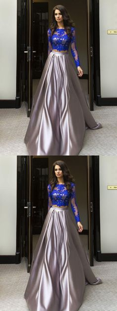 A-line Scoop Floor-length Long Sleeve Elastic Woven Satin Prom Dress/Evening Dress # VB412 #Evening #Long #Prom #A-line #Fashion #Lace #Beautiful #popular #long sleeve