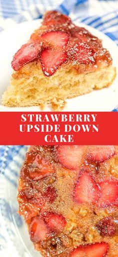 Strawberry Upside Down Cake – An easy tender , moist homemade cake made in a 9 inch cake pan. Homemade Cake Recipes, Best Dessert Recipes, Vegan Desserts, Cupcake Recipes, Easy Desserts, Delicious Desserts, Cupcake Cakes, Dessert Ideas, Drink Recipes