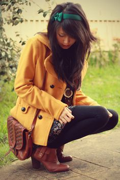 Mustard Yellow Trench, Floral, and Brown