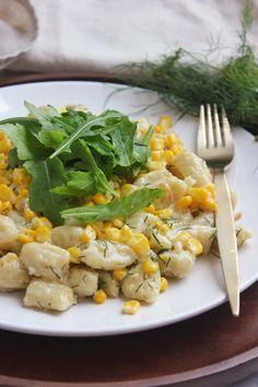 Füstölt sajtos-kukoricás gnocchi recept Gnocchi, Cantaloupe, Risotto, Vegetarian Recipes, Lunch, Fruit, Vegetables, Cooking, Ethnic Recipes