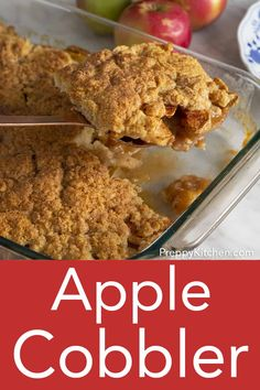 This EASY and DELICIOUS apple cobbler from Preppy Kitchen has a juicy apple filling topped with a perfectly sweet, cinnamon-infused biscuit crust. Add a big scoop of ice cream and you're instantly everyone's favorite baker. A perfect treat for Fall! Fall Dessert Recipes, Holiday Desserts, Fall Recipes, Fruit Crumble, Crumble Recipe, Apple Pie Bread, Banana Bread, Schuster, Apple Cobbler